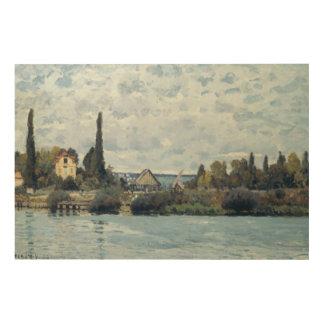 Impression Sur Bois Alfred Sisley   la Seine chez Bougival