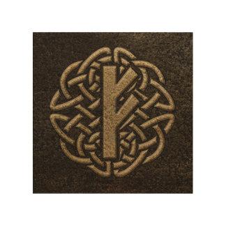 Impression Sur Bois Amulette de relief par métal antique de Fehu Rune