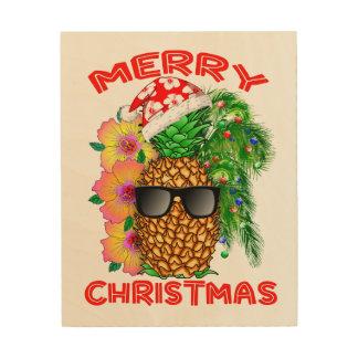 Impression Sur Bois Ananas de Père Noël de Joyeux Noël