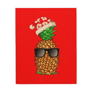 Impression Sur Bois Ananas du père noël
