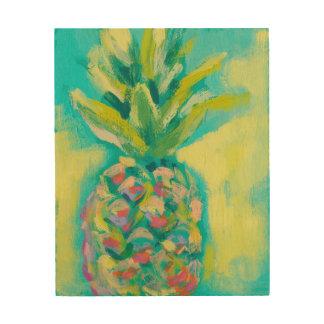 Impression Sur Bois Ananas tropical coloré