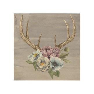 Impression Sur Bois Andouillers floraux de cerfs communs