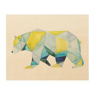 Impression Sur Bois Animal géométrique d'ours