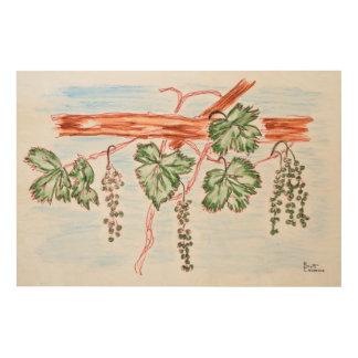 Impression Sur Bois Aquarelle des vignes avec des raisins | France