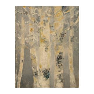 Impression Sur Bois Arbres de bouleau sur l'arrière - plan gris 4