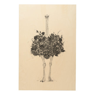 Impression Sur Bois Autruche florale