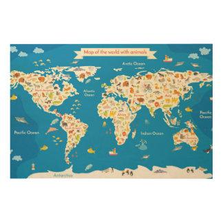 Impression Sur Bois Badine la carte du monde avec des animaux