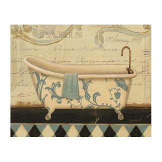 Impression Sur Bois Baignoire vintage blanche et bleue