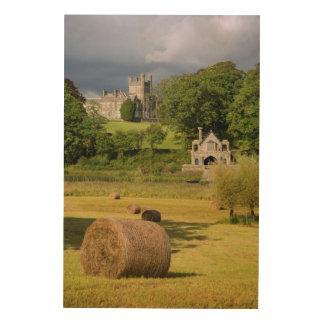 Impression Sur Bois Balles de foin devant le château de Crom