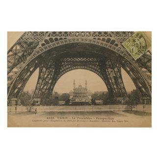 Impression Sur Bois Base noire et blanche de Tour Eiffel