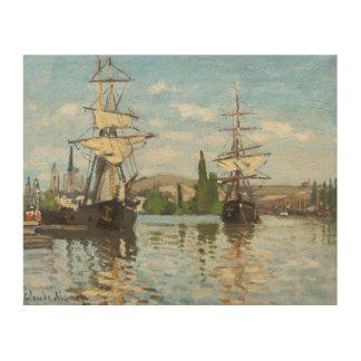 Impression Sur Bois Bateaux de Claude Monet | montant sur la Seine à