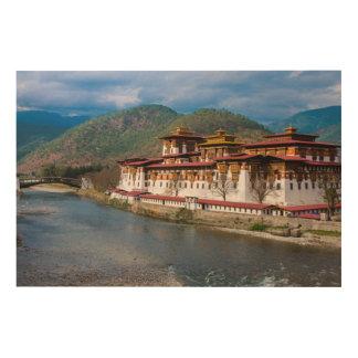 Impression Sur Bois Bâtiment de Dzong par la rivière