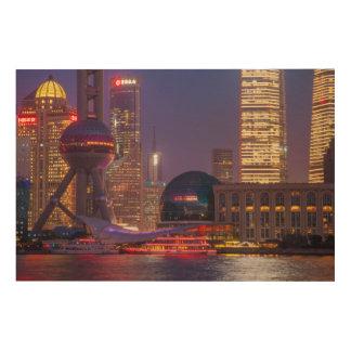 Impression Sur Bois Bord de mer du centre Changhaï, Chine