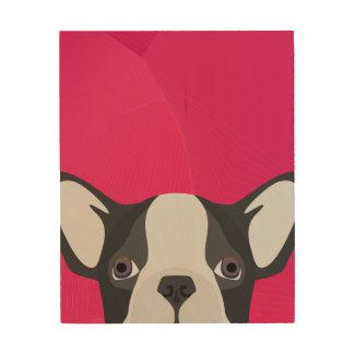 Impression Sur Bois Bouledogue français d'illustration avec l'arrière