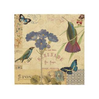 Impression Sur Bois Bouquet vintage des fleurs, des oiseaux et des