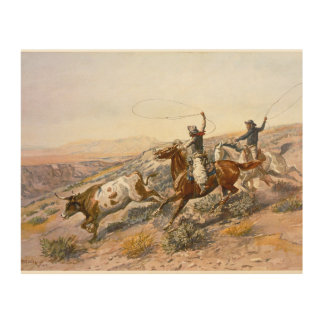 Impression Sur Bois Buccaroos vintage Charles Marion Russell