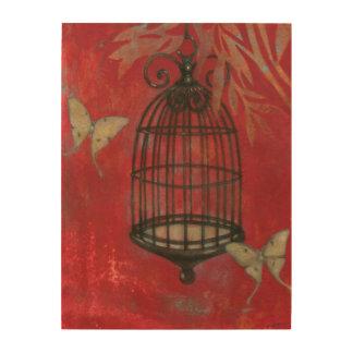 Impression Sur Bois Cage à oiseaux décorative avec des papillons