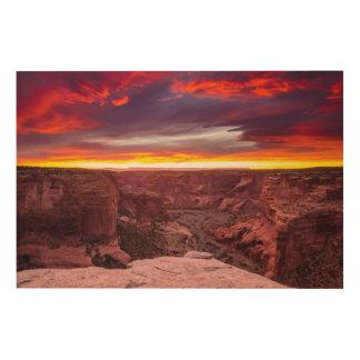 Impression Sur Bois Canyon de Chelly, coucher du soleil, Arizona