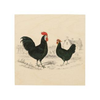 Impression Sur Bois Carreau vintage de ferme de coq et de poule