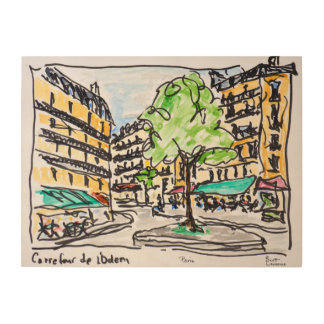 Impression Sur Bois Carrefour de l'Odeon, Paris, France