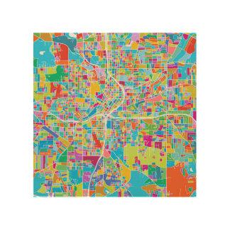 Impression Sur Bois Carte colorée d'Atlanta
