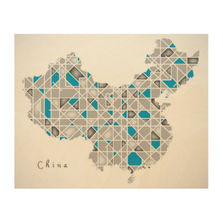 Impression Sur Bois Carte de l'illustration en cristal de style de