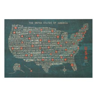 Impression Sur Bois Carte de ville des USA sur le bleu en bois