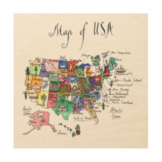 Impression Sur Bois Carte des attractions des Etats-Unis d'Amérique