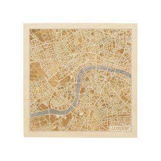 Impression Sur Bois Carte dorée de ville de Londres