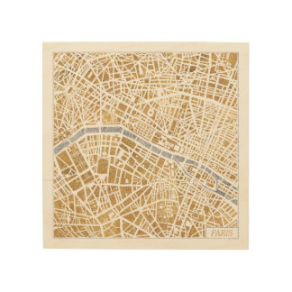Impression Sur Bois Carte dorée de ville de Paris