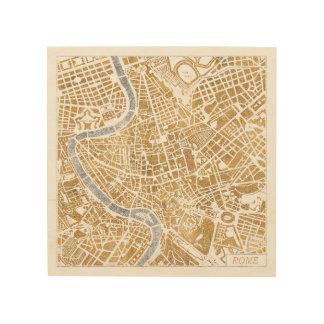 Impression Sur Bois Carte dorée de ville de Rome