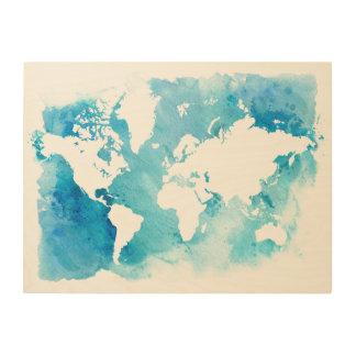 Impression Sur Bois Carte du monde dans des bleus d'aquarelle
