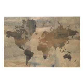 Impression Sur Bois Carte en pierre grise du monde