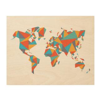 Impression Sur Bois Carte géométrique abstraite du monde