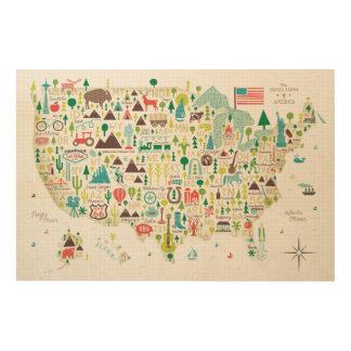 Impression Sur Bois Carte illustrée des Etats-Unis