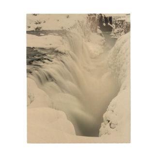 Impression Sur Bois Cascade de Godafoss, hiver, Islande
