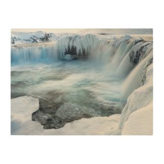 Impression Sur Bois Cascade de Godafoss, hiver, Islande 2