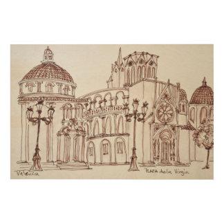 Impression Sur Bois Cathédrale de Valence en Plaza de la Virgin
