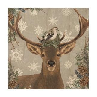 Impression Sur Bois cerfs communs rustiques vintages modernes d'hiver