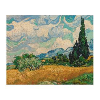 Impression Sur Bois Champ de blé avec des cyprès par Vincent van Gogh