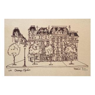 Impression Sur Bois Champions Elysees, Paris de l'architecture | de