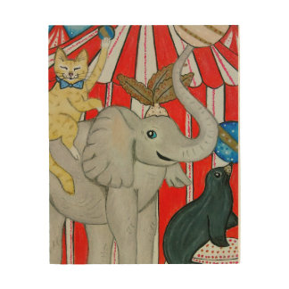 Impression Sur Bois Chat dans le cirque avec l'éléphant et le joint