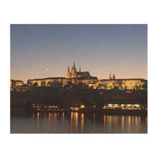 Impression Sur Bois Château de Prague la nuit