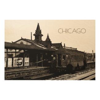 Impression Sur Bois Chicago L souterrain 1950 de photographie de sépia