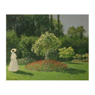 Impression Sur Bois Claude Monet | Jeanne Marie Lecadre dans le jardin