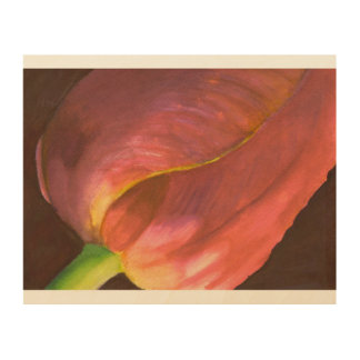 Impression Sur Bois close_up d'aquarelle de tulipe