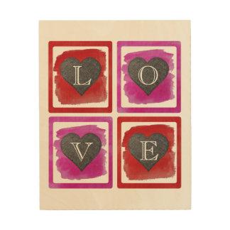 Impression Sur Bois Coeurs croisés par encre encadrés rouge-rose