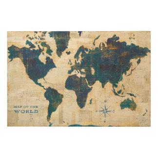 Impression Sur Bois Collage de carte du monde