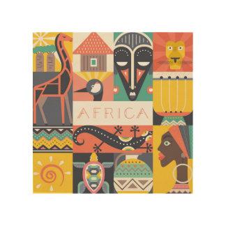 Impression Sur Bois Collage symbolique africain d'art