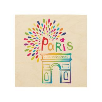 Impression Sur Bois Conception au néon de Paris France | Arc de